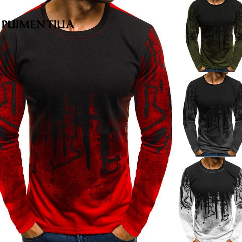 Puimentiua 2019 Spring Men's Fashion Slim Fit T-Shirt Camouflage Print O Neck Long-Sleeved Tee Male Basic Casual Workout  Tops