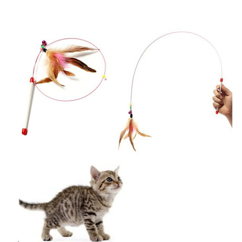 Puppy Cat Creative Feathers Funny Cats Wire Rods Flying Bell Favorite Cats Toy For Pet Products