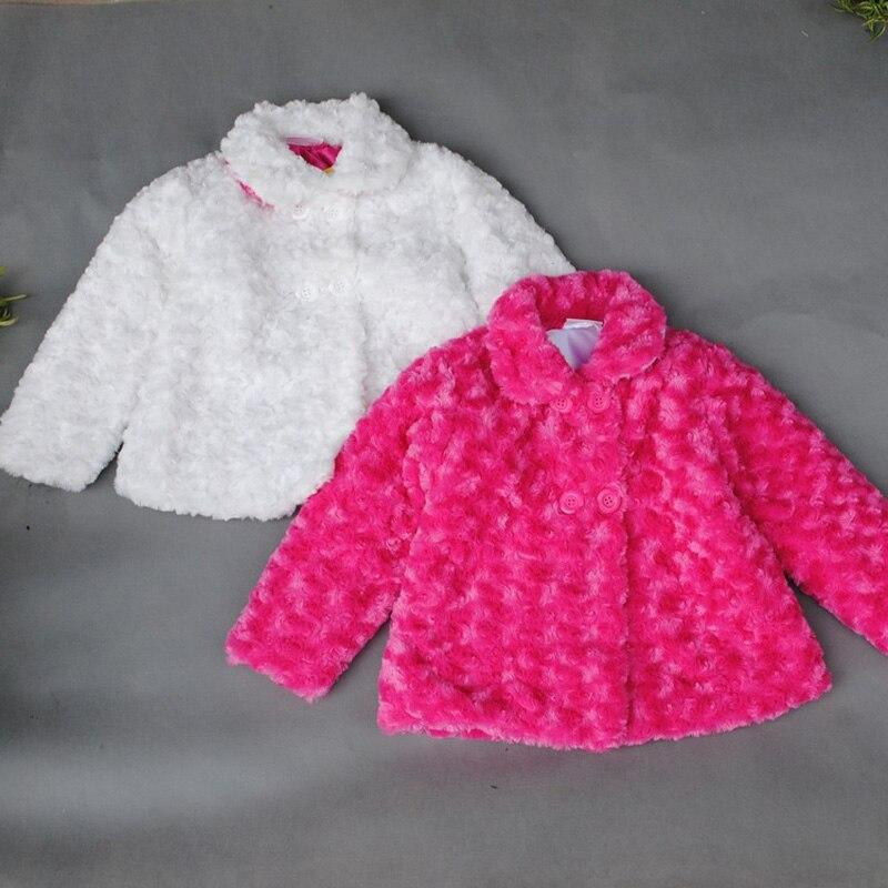 2016 baby girl Woolen coat white winter children clothing