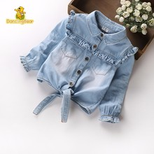 Girls Baby Kids Denim Jackets Coats Fashion Children Outwear Ruffle Stitching Children's Clothing Spring Autumn Kids