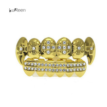 Hot Selling Gold Bling Teeth Grillz Shiny Dental Grills Hyperbole Pointed Fang Set Hiphop Jewelry Bar dander Golden Body Jewelry