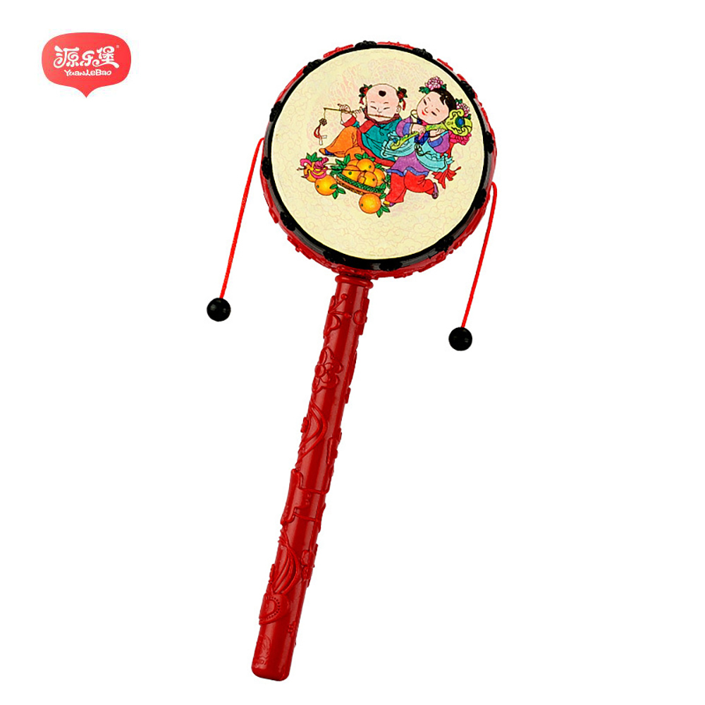 Yuanlebao 1pc Red Chinese Festival Rattle Drum Percussion Childrens Musical Toy Baby Hand Fun Gift Exercise auditory for Baby