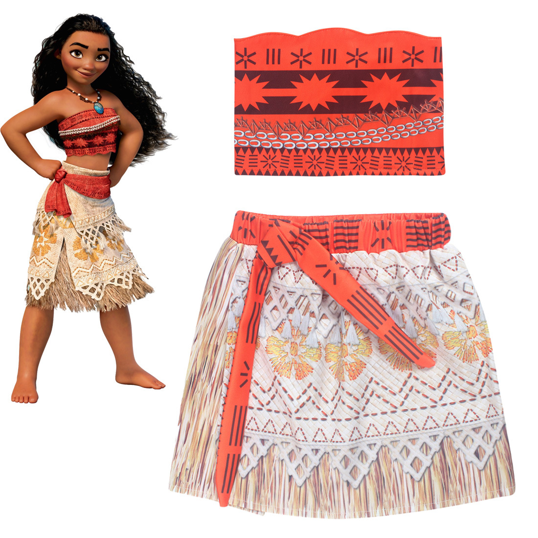 Z&Y 3-8Years Fantasia Moana Dress Costume Girls Dress Set Carnival Costume Kids Clothes A-line Dresses Girl Kerst Jurk Meisje
