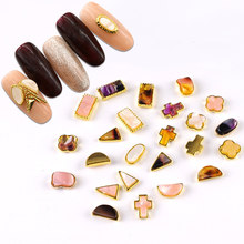 New Nail Gradation Amber Gold Wrapped Shaped Metal Alloy Nail Jewelry Sticker 24 Nail Art Nail Art Hand Beauty Accessories(China)