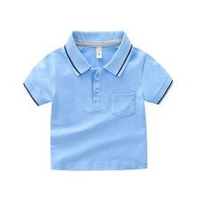 Summer Cotton Boys Clothes POLO Shirts Solid Color Lapel Collar Shirt Children
