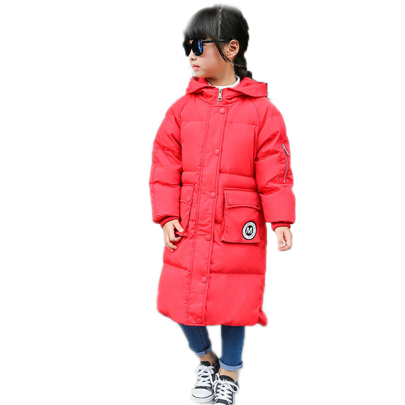 2018 children down coat long hooded winter jacket coat for girl letter patchwork boys winter jacket coat thicken warm kids parka saf thicken warm winter coat hood parka overcoat long jacket outwear