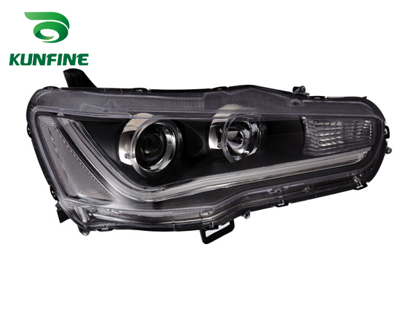 Pair Of Car Headlight Assembly For MITSUBISHI LANCER 2010- Tuning Headlight Lamp Parts Daytime Running Light Angel eyes Bi Xenon right combination headlight assembly for lifan s4121200