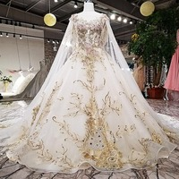 High End Customized Wedding Dresses Luxury Lace Appliques Beading Cathedral/Royal Train with Long Cape Veil Formal Bridal Gowns