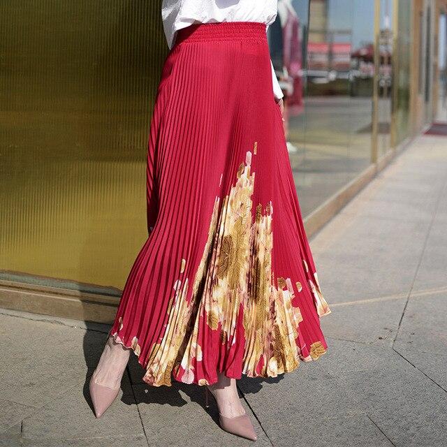 女性ロングプリーツスカートブランド夏弾性ハイウエストマキシスカートのセクシーなビーチヴィンテージ段 Faldas サイア