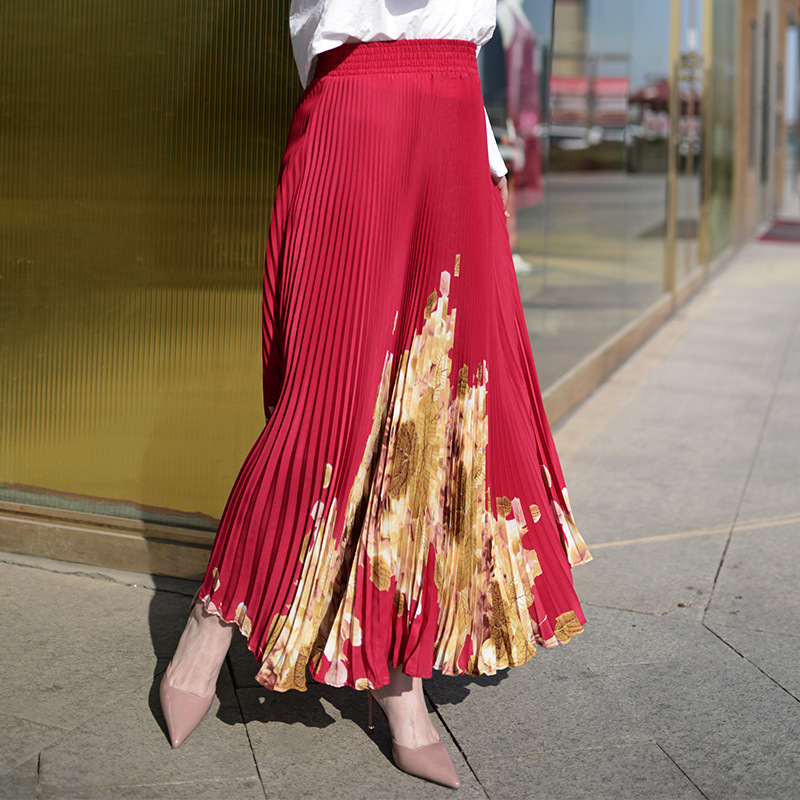 Women Long Pleated Skirt Brand Summer  Elastic High Waist  Maxi Skirt Sexy Beach Vintage Skirts Womens Faldas Saia