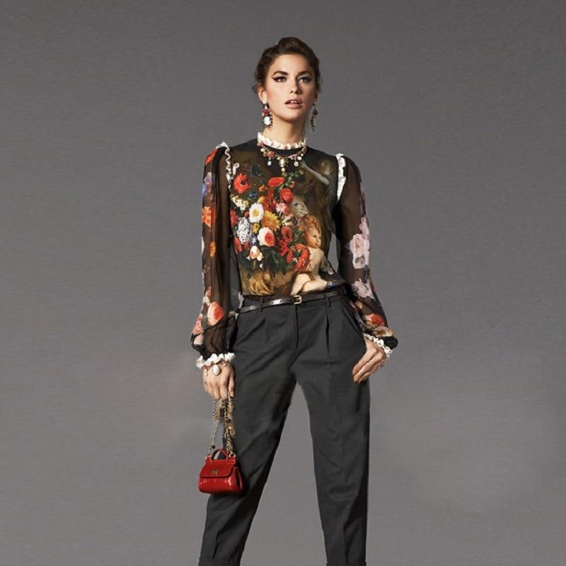 Runway Design Summer Vintage Black Angel Printed Blouses Shirt Women Loose 2018 Elegant Long Sleeve Lace Party Silk Blouse Tops