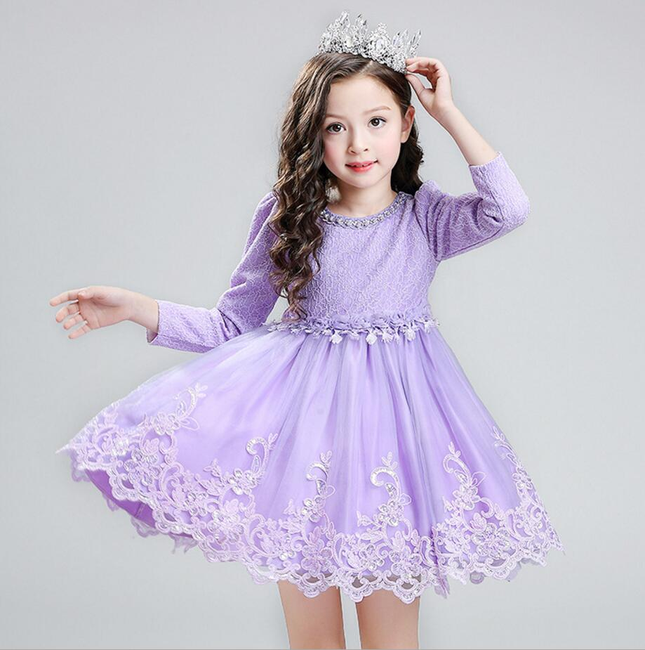 Girl Dress Autumn Winter Long Sleeve Tulle Lace Princess Dresses children  Birthday Outfits Toddler Girls Christening - Online Buy Wholesale Princess Birthday Outfits Toddlers From China