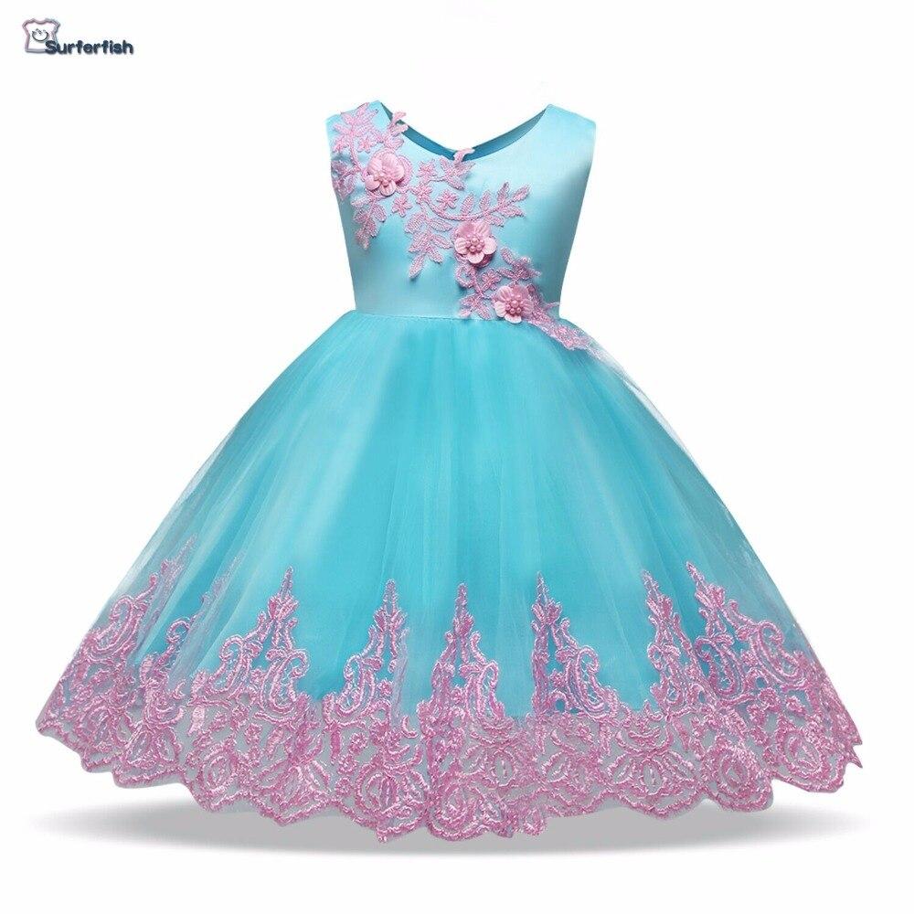 2019 Girls dresses formal dresses Sleeveless embroidery Girls Flower wedding party for baby girls Baby Valentine
