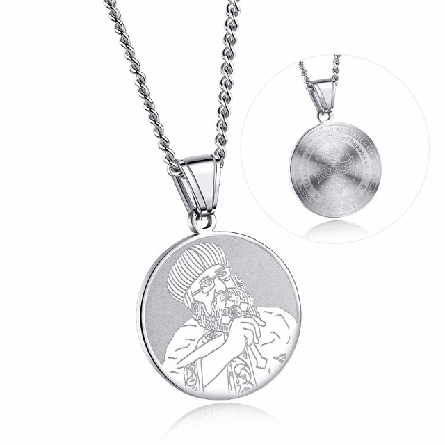 New Religious Jewelry Mens Pendant Necklace Stainless Steel Coin