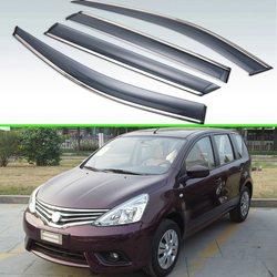 Dla Nissan Livina L11 2013 2018 z tworzywa sztucznego na zewnątrz daszek odcienie okno Sun deszcz straży deflektor 4 sztuk|Markizy i zadaszenia|   -