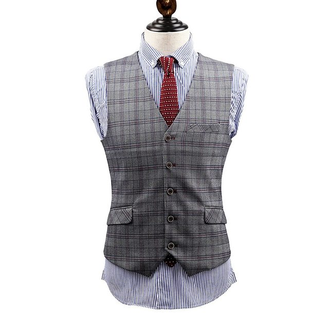 Online Shop Brand Clothing Grey Plaid 3 Pieces men formal wedding ...