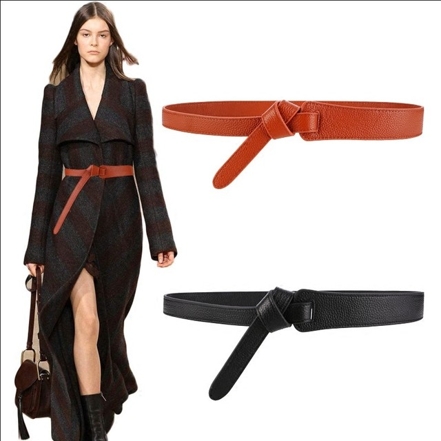 Bow design Thin PU Leather Jeans Girdles Loop strap belts 2