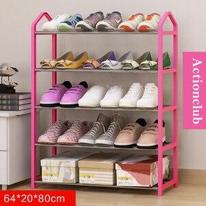Image 4 - Actionclub بسيط متعدد الطبقات معدن الحديد رف للأحذية طالب عنبر حذاء تخزين الرف لتقوم بها بنفسك خزانة خذاء أثاث منزلي