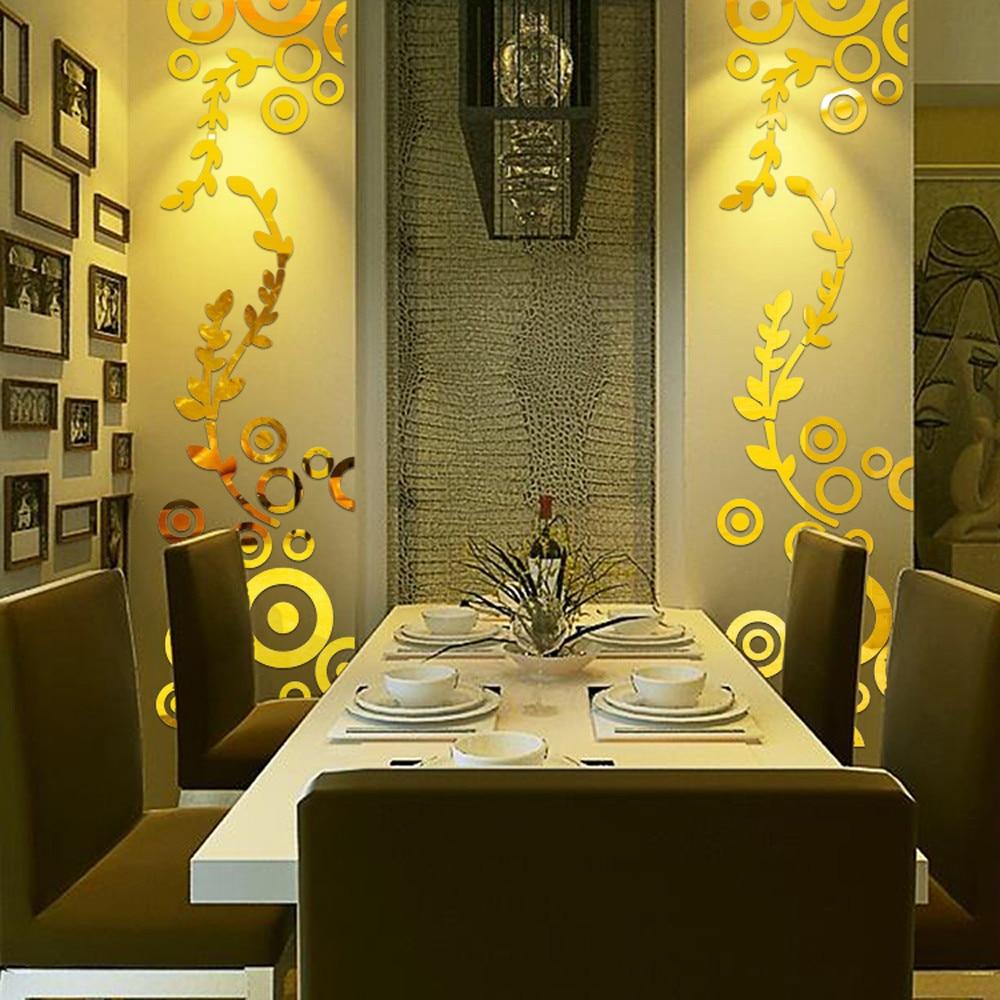 3D Wall Sticker Decoration Creative Circle Ring Acrylic Mirror Wall ...