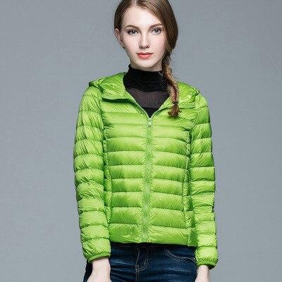 Складываемая женская зимняя куртка с длинным рукавом, однотонное женское теплое пуховое пальто, Новое Женское зимнее пальто с капюшоном Casaco Feminino - Цвет: Green
