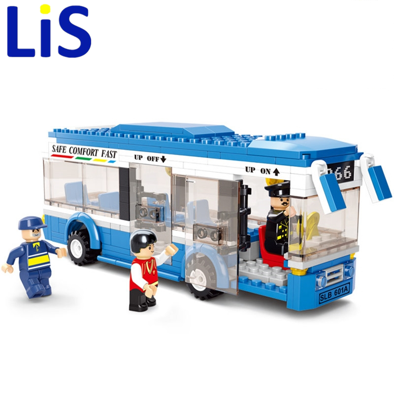 Lis Sluban B0330 Blue City Bus 235 Pieces ABS Plastic Building Block Sets Toys For Children Compatible Lepin Christmas gift S019 lepin 22001 pirate ship imperial warships model building block briks toys gift 1717pcs compatible legoed 10210