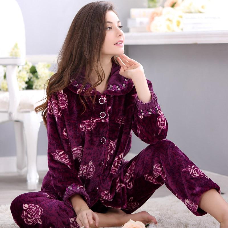 2017 new arrival springautumnwinter christmas pajamas for women pants plus size 4x long sleeve coral fleece pajamas set ladies