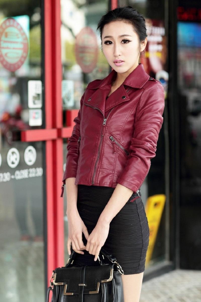OLGITUM 18 Autumn Women Black Slim Cool Lady PU Leather Jackets Sweet Female Zipper Faux Femme Outwear Coat Plus Size JK254 10