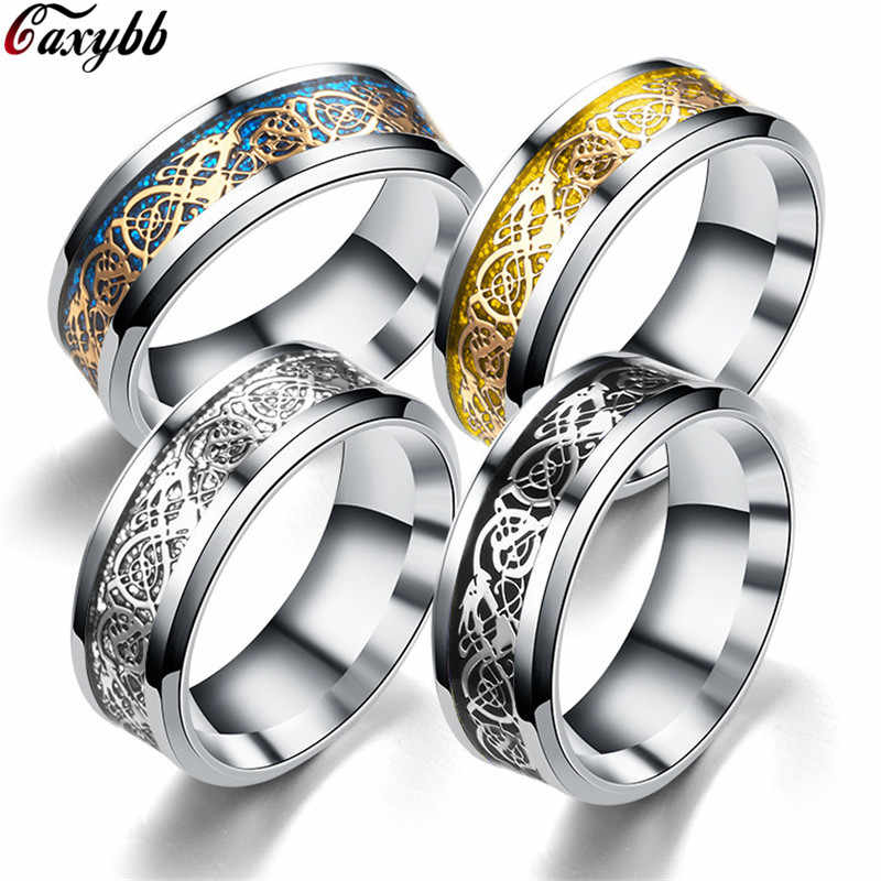 12 colors Blue Black Silvering Irish Dragon Titanium Carbide Ring 8mm Wedding Bands Couple Anniversary Jewelry