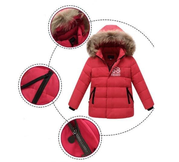 Yeni Kış Aşağı Ceket Erkek Kalınlaşma Sıcak Çocuk Giyim Bebek Çocuk Aşağı Ceket Parkas Boys Kış Kürk Yaka Ceket Giyim