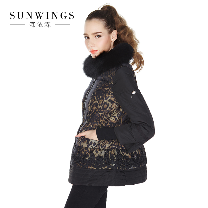 2017 new hot winter Thicker woman Down jacket Coat Parkas Hooded fox Fur collar Slim Luxury High end plus size 2XXL Leopard