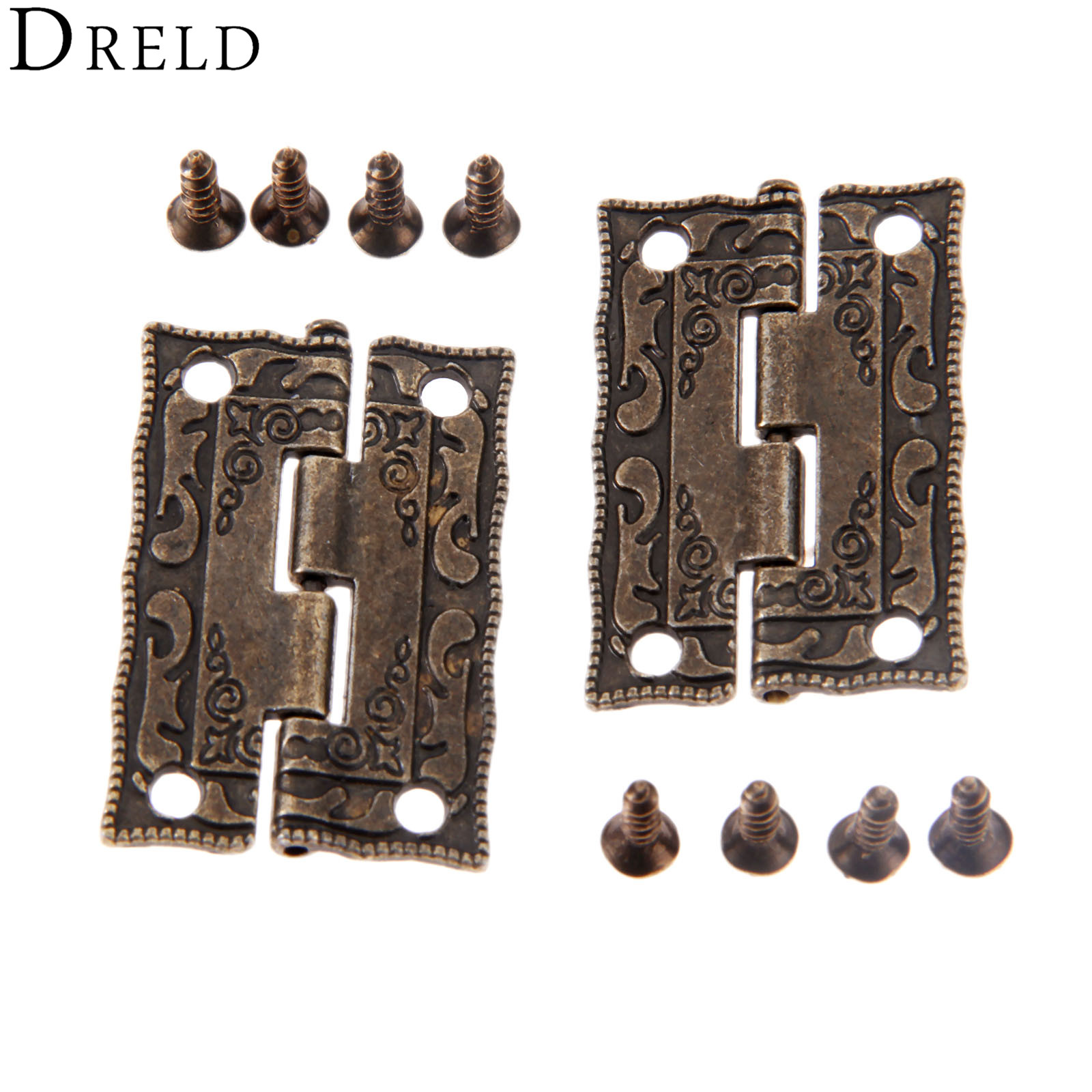 DRELD 2pcs 35*23mm Antique Bronze Hinges Cabinet Door Drawer Decorative Mini Hinge For Jewelry Wooden Box Furniture Hardware
