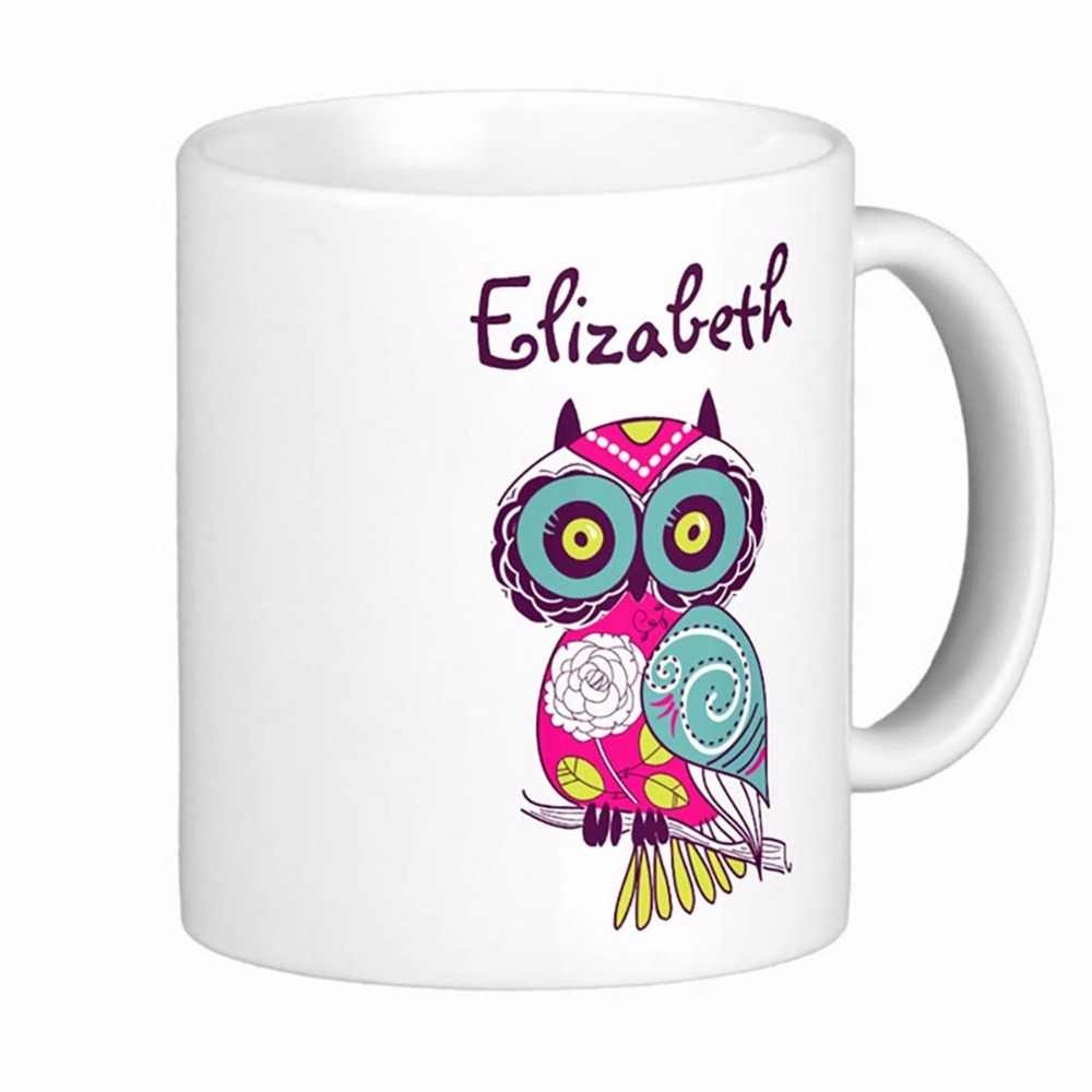 Colorful Ornate Floral Owl Custom Name White Coffee Mugs Tea Mug Customize Gift By Lvsure Ceramic Mug Travel Coffee Mugs Mug Custom White Coffeewhite Coffee Mugs Aliexpress