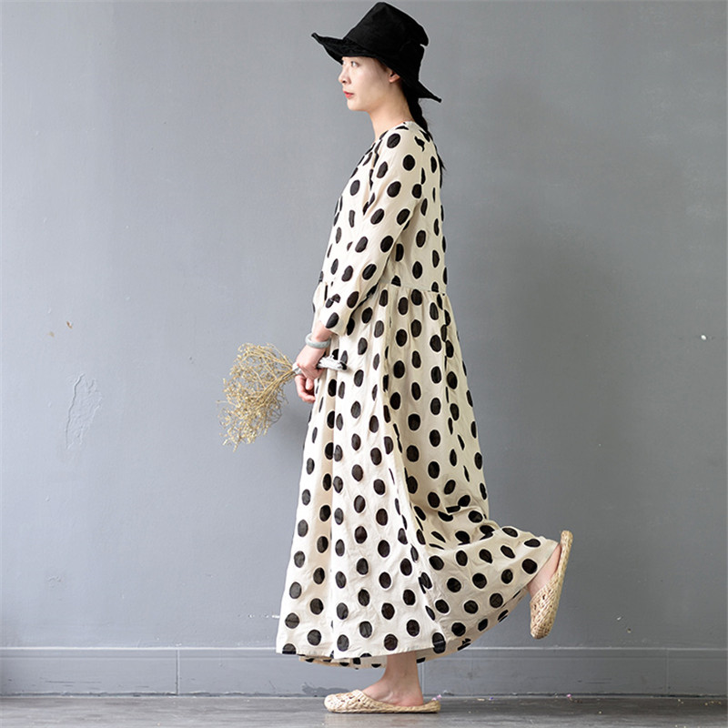 SCUWLINEN 2018 Women Summer Autumn Dress Casual Classic Dot Wrist Long Maxi Dress A line Cotton