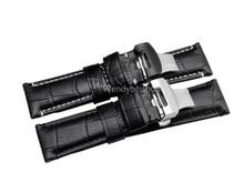 CARLYWET – bracelet de montre VINTAGE, en cuir de veau véritable, noir et marron, Grain de Crocodile épais, ceinture pour Luminor, 22 24mm