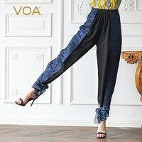 VOA шелк жаккард шаровары осень длинные брюки Для женщин Прохладный лук высокой моды Винтаж Женские брюки большой Размеры уличная K565