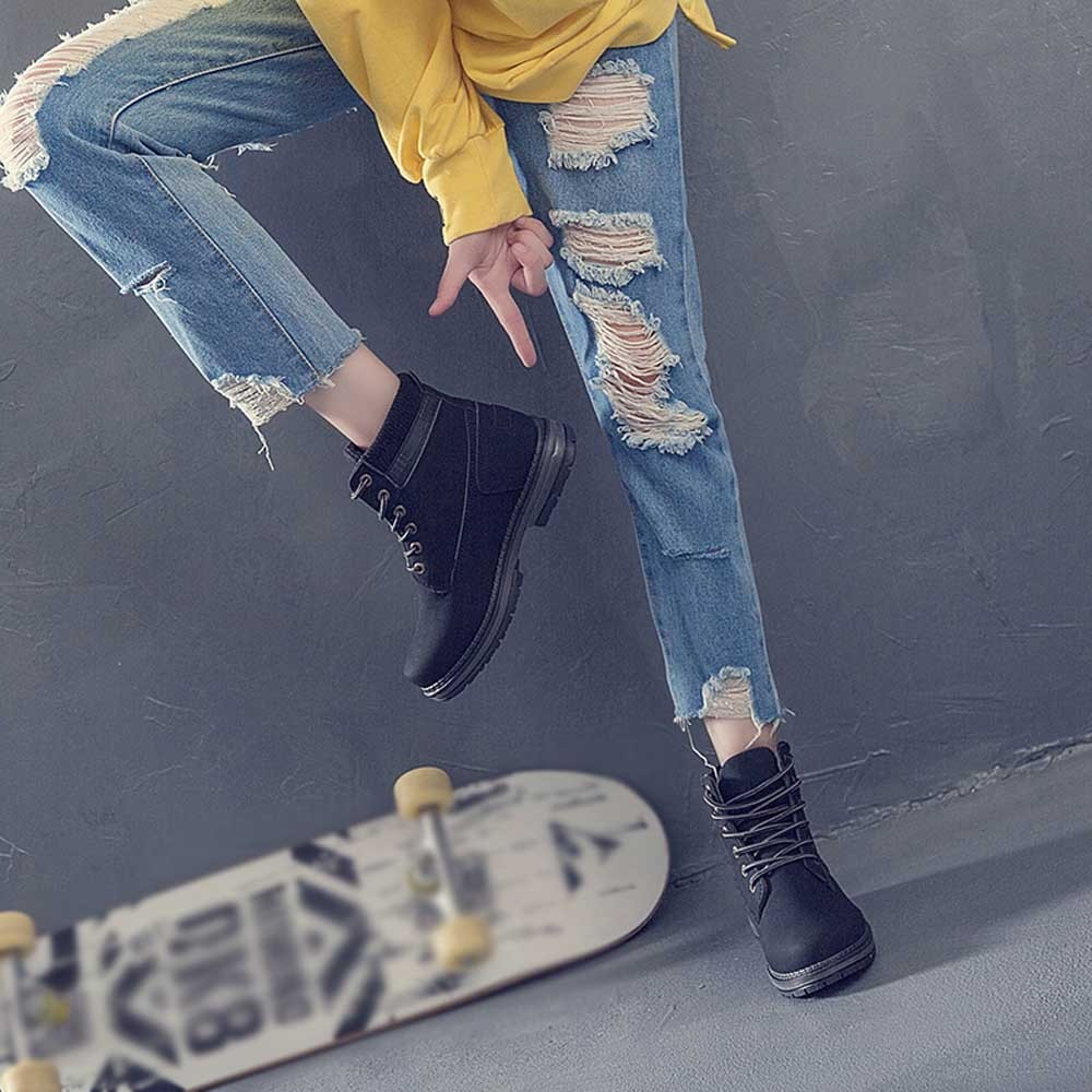Women Boots Solid Lace Up Casual Ankle Boots Round Toe Shoes Student Snow Boots Classic Winter Warm Ladies Shoes T## 29
