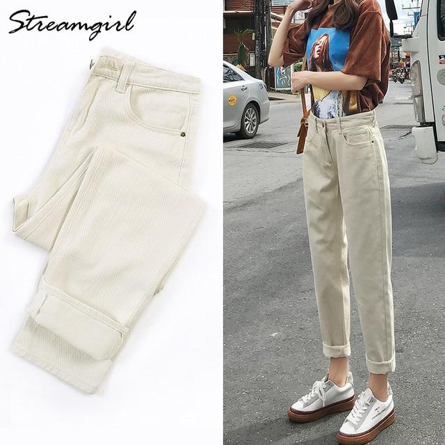 Streamgirl Ladies Jeans Boyfriend For Women Loose Harem Jeans Woman High Waist 2019 Black Jean Femme Denim Pants Capris Spring