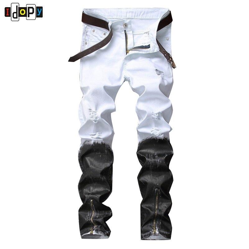 Idopy в стиле панк черные и белые Повседневное Для мужчин S хип-хоп Байкер Джинсы для женщин ночной клуб Slim Fit с принтами с Застёжки-молнии джоггеры брюки для девочек для Для мужчин