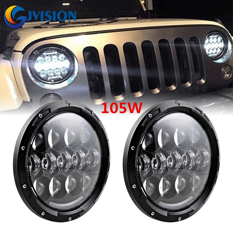 Black/chrome 105W 7INCH LED motorcycle headlight Hi/Lo Beam Halo Ring Yellow turn singal Lights for Jeep Wrangler JK CJ TJ on sale 1pair 30w 7inch motorcycle projector led bulb headlight 6000k hi lo beam for jeep wrangler jk humm