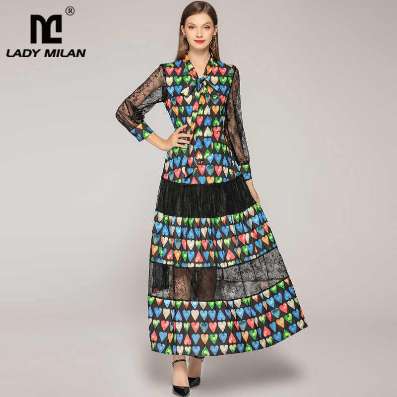 2019 женские платья для подиума с воротником бабочкой и длинными рукавами