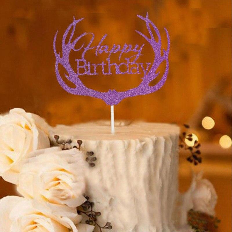 Geweih Glucklich Geburtstag Kuchen Topper Geburtstag Kuchen