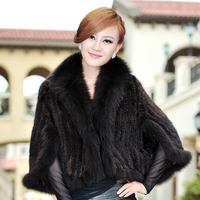 Winter Women's Genuine Knitted Mink Fur Shawl Fox Fur Trimming Batwing Sleeve Lady Poncho Wraps VF0323