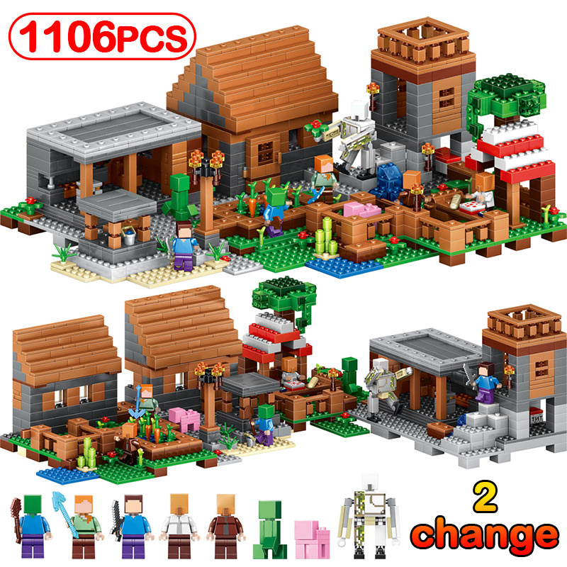 DIY1106pcs My World Large Village Model Building Block Compatible Legoinglys Minecrafted Figures Bricks Education Kids Gift Toys lepin 18010 my world 1106pcs compatible building block my village bricks diy enlighten brinquedos birthday gift toys kids 21128