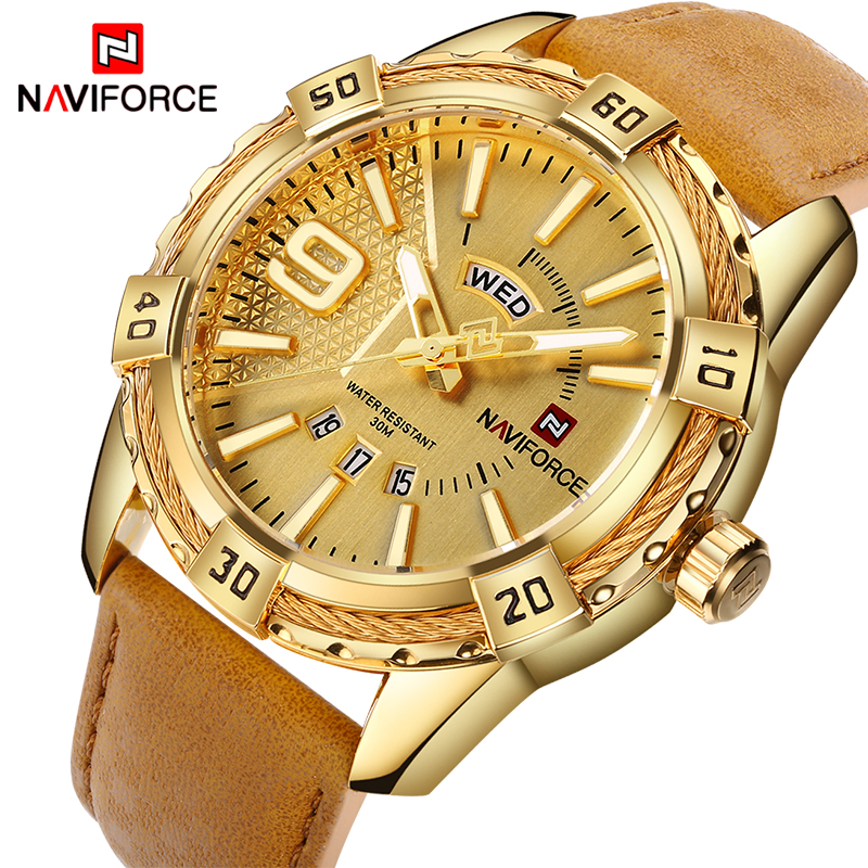 NAVIFORCE Top Luxury Brand Men Leather Gold Watch Men s Quartz Date Clock Man  Sports Waterproof Wrist 73728bc0c2d09