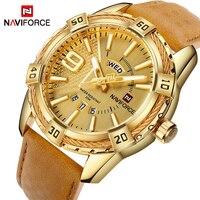 NAVIFORCE Top Luxury Brand Men Leather Gold Watch Men S Quartz Date Clock Man Sports Waterproof