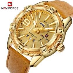 NAVIFORCE Top luksusowa marka mężczyźni skórzany złoty zegarek męski zegarek kwarcowy z datownikiem człowiek sport wodoodporne zegarki relogio masculino