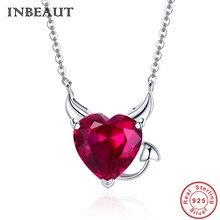 INBEAUT Women Trendy S925 Wedding Necklaces 925 Sterling Silver Red Devil Horn Heart Zircon Pendant Neckalce Christmas Love Gift