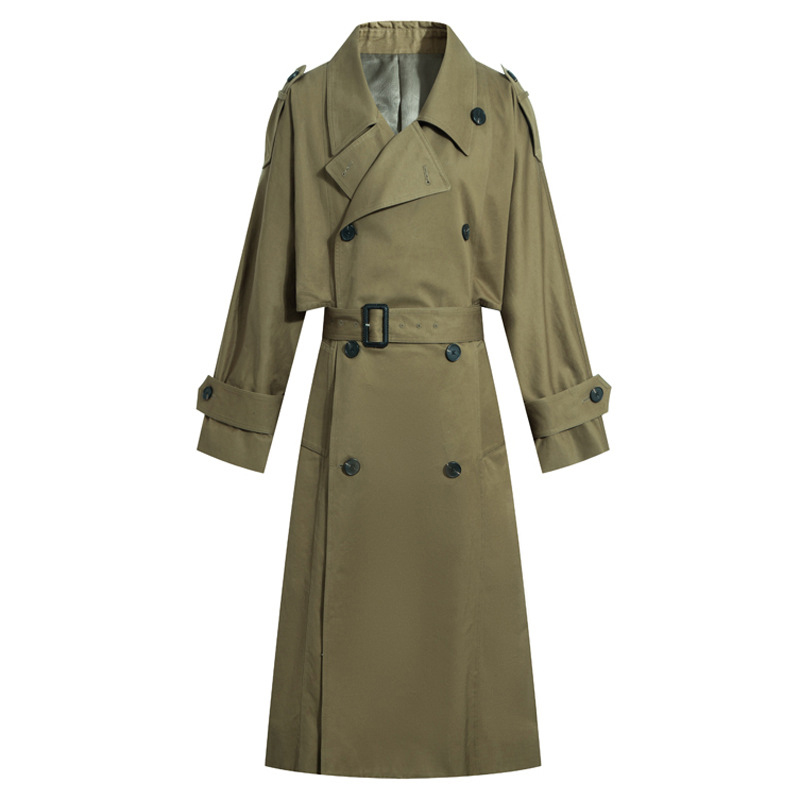 Liva gir Fall Coat Women   Trench   Coat Fashion Double Breasted With Belt High quality Long Coats Casual Fall Windbreaker Outerwear