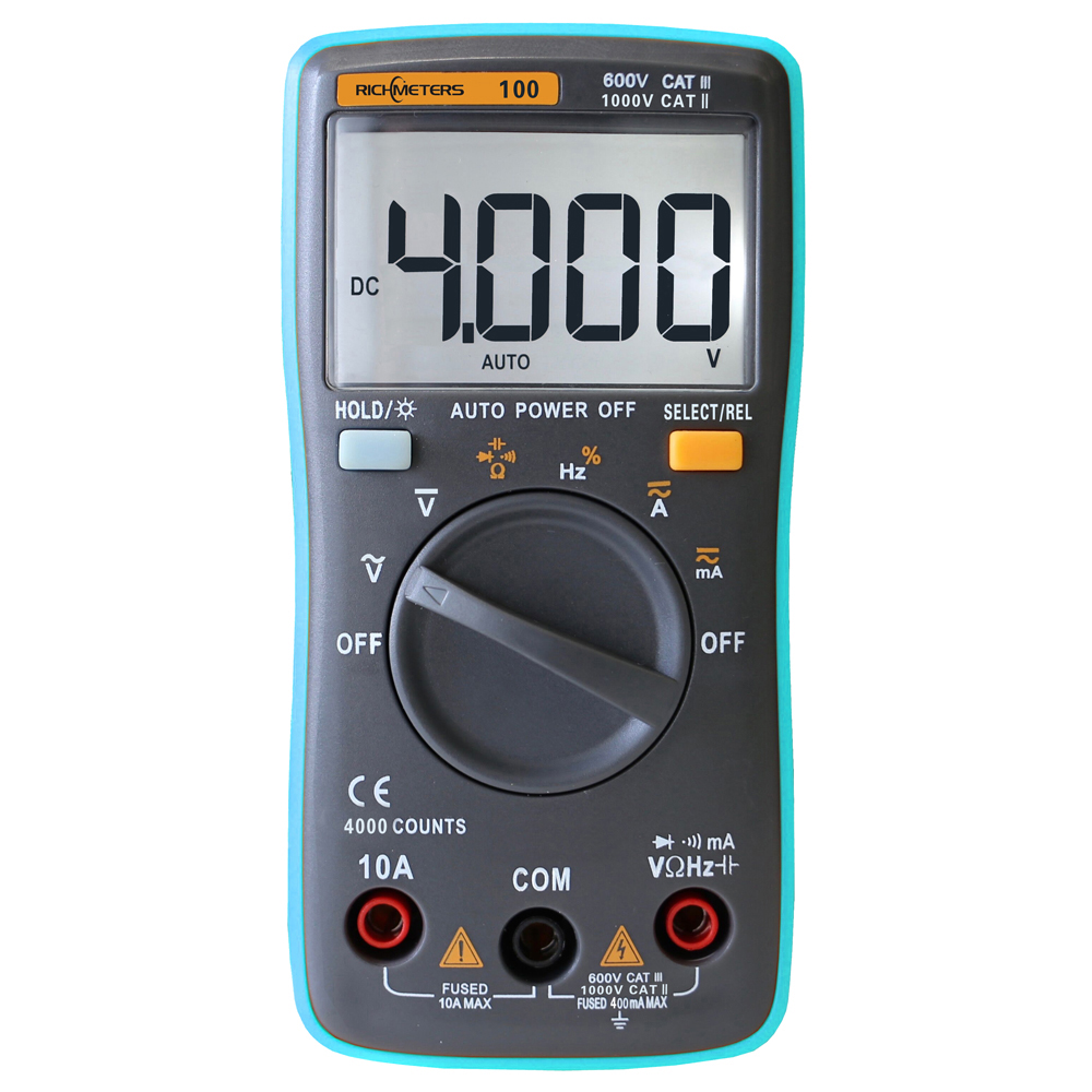 RM100 True RMS Multimeter DMM DC AC Ammeter Voltmeter Ohm Capacitance Frequency Duty Tester Automatic Polarity Identification