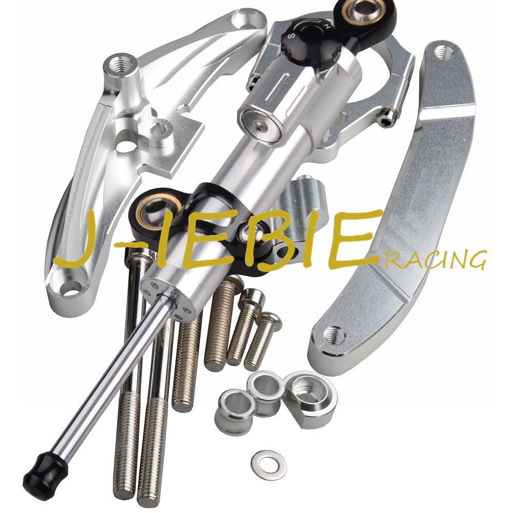 CNC Steering Damper Stabilizer and Silver Bracket Mounting For Yamaha FZ1 FAZER 2006-2015 2008 2009 2010 2011 2012 2013 2014